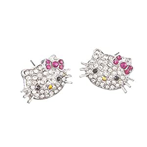 Hello Kitty Silver Tone Crystal Stud Earrings with Pink Bow