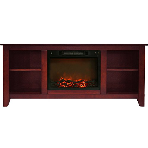 Cambridge CAM6226-1CHR Santa Monica 63 In. Electric Fireplace & Entertainment Stand in Cherry w/ 1500W Charred Log Insert