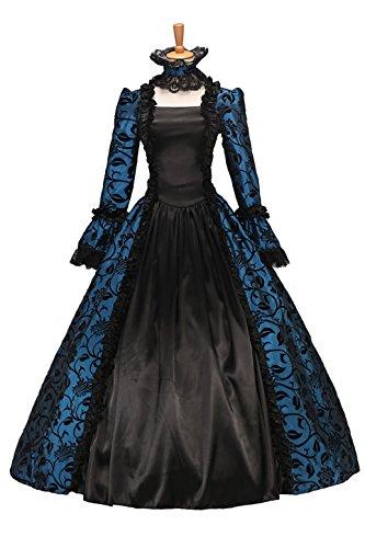 8193d60343a XOMO Victorian Gothic Satin Ball Gown Wedding Dress Georgian Period Blue XL