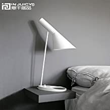 Injuicy Lighting Nordic Louis Poulsen Arne Jacobsen AJ E27 Metal Lampshade Led Desk Lamps Adjustable Modern Iron Base Reading Table Lamps Lights Bedsides Bedrooms Study (White)