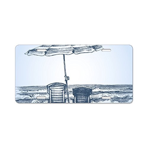 Sunbeds And Umbrellas Car Plate Tag Accessories Metal License Plate Frame (New) 12