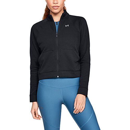 Under Armour Women's Favorite Terry Full Zip Bomber, Black (001)/Tonal, Medium