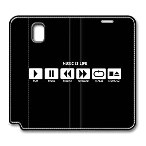 Samsung Galaxy Note 3 Smart Case, Music Is Life Play Button Smart Case Cover for Samsung Galaxy Note 3 with Stand Feature Auto Wake Up / Sleep, Original Design And Made By PhilipHayes