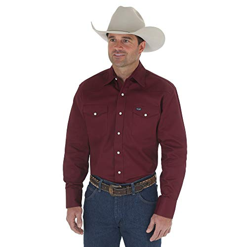 Wrangler Men's Authentic Cowboy Cut Work Western Long-Sleeve Firm Finish Shirt,Red -