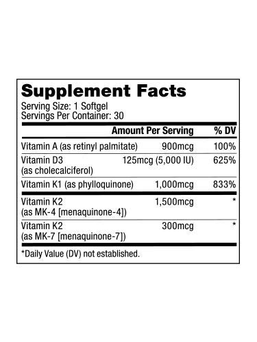 Bulletproof Vitamins A-D-K, High Potency, Heart, Bone and Immune, Vitamins A, D3 (5,000 IU), K1, K2 (MK7 and MK4), No Soy by Bulletproof (Image #2)