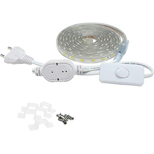 LED Streifen 2M mit Schalter, 5050 Flexibel Leiste, 230V IP67 Wasserdicht, Weiß