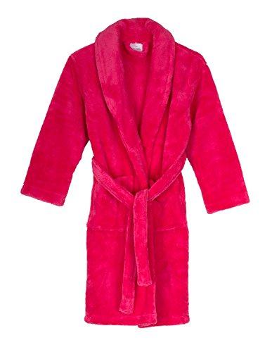 TowelSelections Big Girls' Plush Shawl Robe Soft Fleece Bathrobe Size 12 Honeysuckle