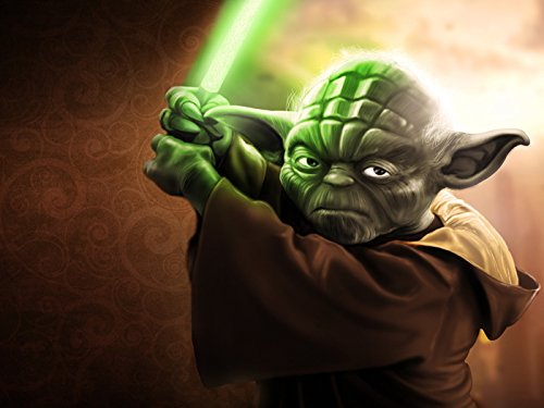Grand Jedi Master Yoda Lightsaber Star Wars Movie Art 24x18 Print Poster