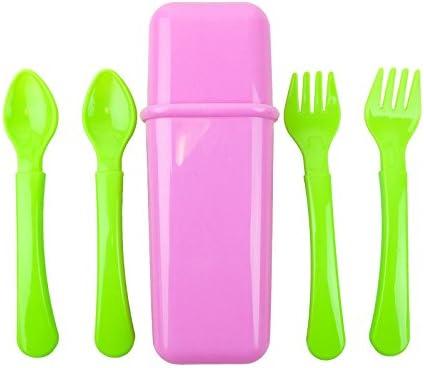 Bid Buy Direct® 5PC bebé viaje cubiertos rosa caso – 2 tenedores, 2 cucharas en un práctico estuche de viaje bolsa de transporte | bebé auto-alimentación formación cubiertos con antideslizante y fácil