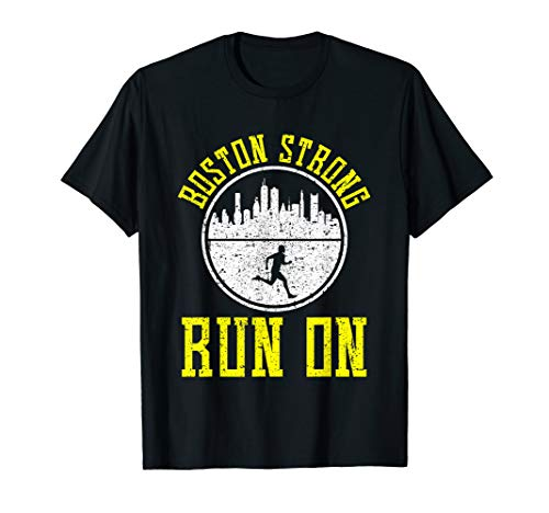 PROUD BOSTON STRONG RUN ON T-SHIRT Marathon Runners Running]()