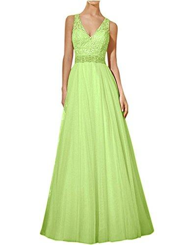 Fiesta Vestido Boda Mujer Lima Encaje Tul Vestido JAEDEN V Vestido Cuello de Verde de de Largo Novia 1wFBR