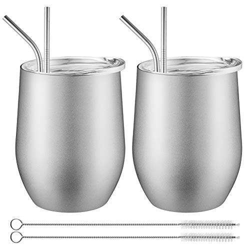 Yacolife 12 oz Stainless Steel Stemless Wine Glass,Double Wall Insulated Tumbler Cup with Lids and Straws for Wine, Coffee, Drinks, Champagne, Cocktails, 2 Pack (silver) - Stainless Steel Double Rubber