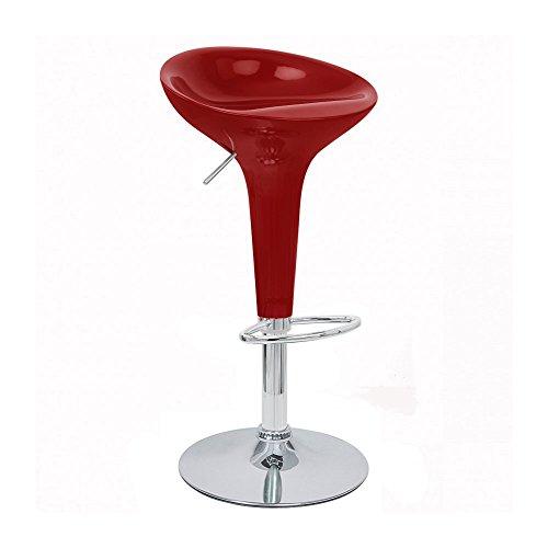 Bombo Bar (Set of 2 Alpha Contemporary Bombo Style Adjustable Barstool - Cabernet Red)