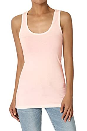 TheMogan Women's Scoop Neck Racerback Stretch Cotton Tank Top Dusty Coral S