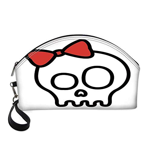 Skull Small Portable Cosmetic Bag,Illustration of Baby Skull Girl with Lace and Halloween Dead Head Teen Emo Art For Women,One size -