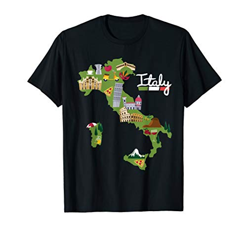Italy Travel Map Flag Gift Italia Pride Souvenir Vacation T-Shirt