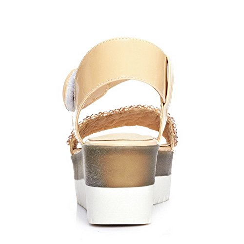 AllhqFashion Womens Open Round Toe Solid Kitten Heels Blend Materials Sandals with Buckle apricot SY6DlAPp