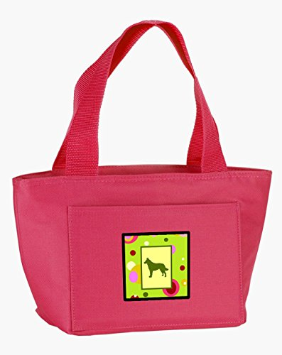 Caroline's Treasures CK1114PK-8808 Lime Green Dots Malinois insulated lunch bag, Large, Multicolor