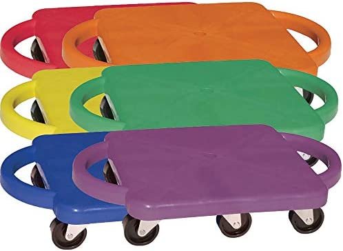 Champion Sports Scooter Board with Handles, Set of 6, Wide 12 x 12 Base – Multi-Colored, Fun Sports Scooters with Non-Marring Plastic Casters for Children – Premium Kids Outdoor Activities and Toys
