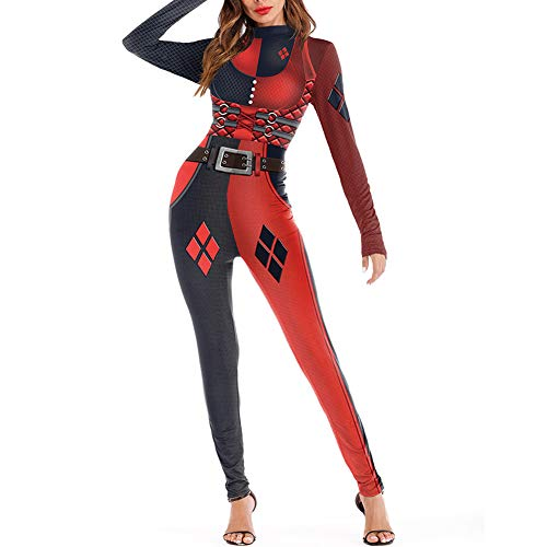 Katblink Women's Long Sleeve Halloween Horror Pattern Catsuit Bodysuit L -