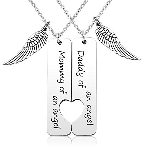 EIGSO Loss Memorial Keychain Mommy/Daddy of an Angel Miscarriage Jewelry Memorial Sympathy Gift for Infant Loss (Mommy Daddy Heart NL)