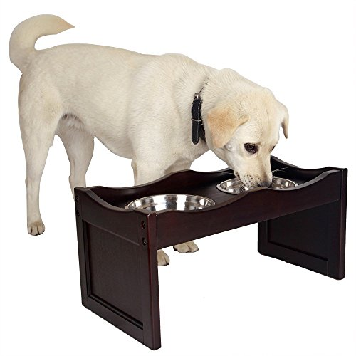 Petsfit Raised Dog Bowls for Medium to Large Dogs Wooden Dog Food Stand with 2 Stainless Steel Bowls 21 x 10 x 10 Inch