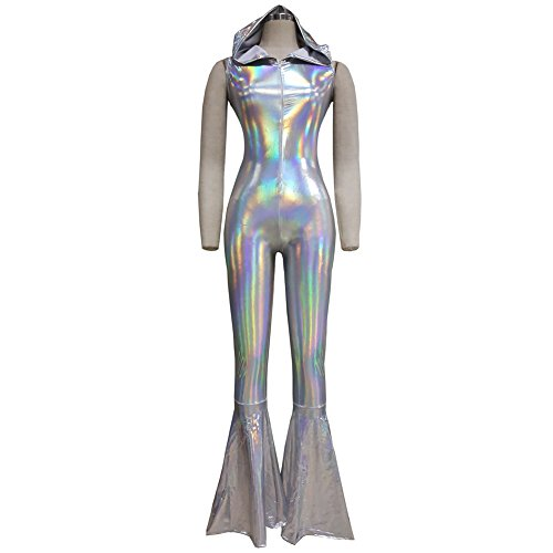 Pinda Rave Iridescent Holographic Sleeveless Hooded Bell Bottom Flares Jumpsuit Bodysuit Catsuit (L, 8083Silver) - Rave Outfits Cheap