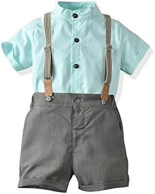 男の子服セット、無地立ち襟半袖シャツ+サスペンダーショーツ、1-5年#205