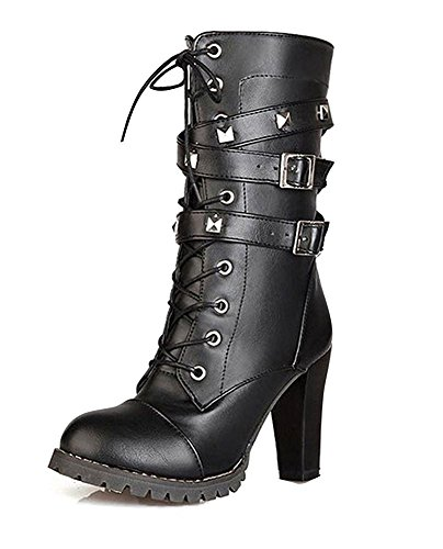 Casual Shoe Sexy High Heel - Maybest Womens Ladies Mid Calf Boots Fold Over Long Stretch Winter Leather Shoes Knee Long Block High Heel Boots Sexy Fashion Casual Black 10 B (M) US
