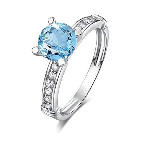 Adisaer Mothers Day Mom Gifts Ring for Women S925 Width 7Mm Round Blue Topaz Ring Size N540 8.5