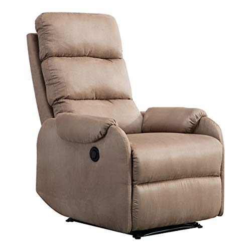 Chair with Suede Cover Gentle Reclining Track - Mocha ()