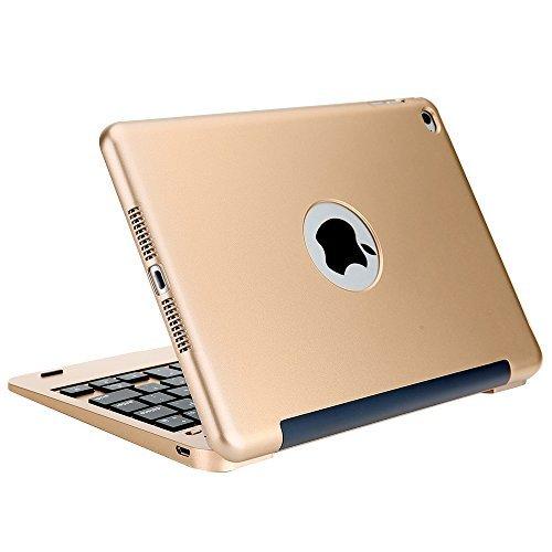 iPad Mini 4 Keyboard Case, iEGrow F1+ Ultra Slim Clamshell Lightweight Keyboard Case for iPad Mini 4 Model A1538/A1550(Gold)