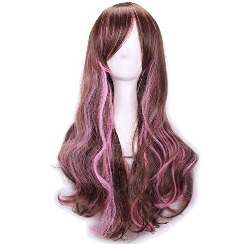 [Rise World Wig Lolita Two Tone Brown Pink Long Curly Cosplay Full Hair Wig] (Rainbow Dash Human Costume)