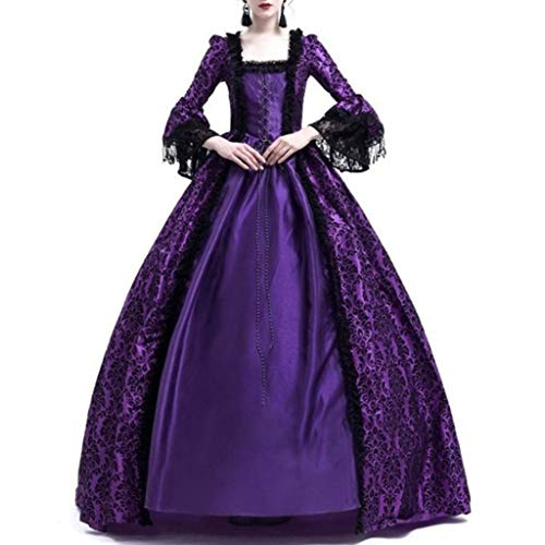 Women Dress Retro Medieval Costumes Fancy Party Princess Renaissance Cosplay Lace Long Sleeved Dress (Purple, XXXL)