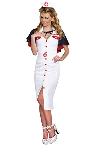 [Fashion Night Nurse Doctor 1940s Vintage Outfit Adult Large Costume] (Adult Vintage Witch Costumes)