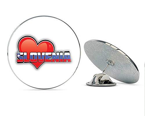 - Slovenia Art Heart Flag Travel Slogan Round Metal 0.75