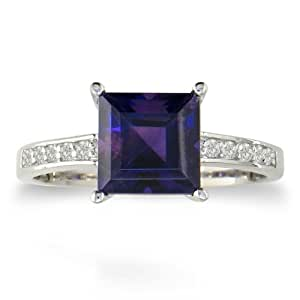 Square Step Cut 1 1/2ct Amethyst and 1/10ct Diamond Ring in 14 Karat White Gold With Free Blitz Jewelry Cleaner