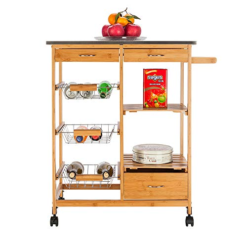 Moveable Kitchen Cart with Stainless Steel Table Top $79.95