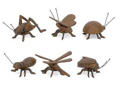 Set of 6 Cast Iron Good Luck Flower Garden Bugs Patio (Iron Furniture Garden Cast Old)