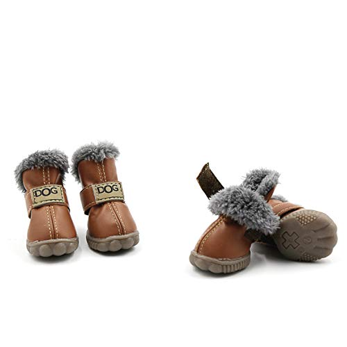 Pihappy Beautiful Puppy Shoes Skidproof Soft Snowman Warm Anti-Slip Sole Paw Protectors Little Pet Winter Dog Boots 4PCS (XS, Brown)