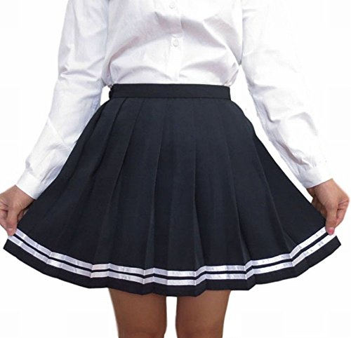 [POJ Japanese High School Girls Uniform Skirt [ M / L / XL Navy blue ] Cosplay Skirt (XL, Navy Blue)] (Japan National Costume For Kids)