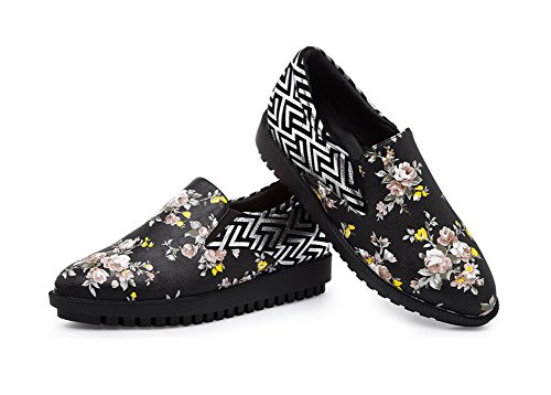 AllhqFashion Mujeres Piel De Oveja Slip-on Puntera Cerrada Tacón Medio Zapatosde Tacón Negro