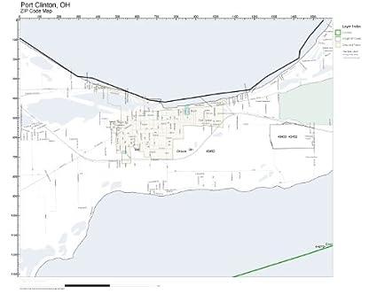 Amazon Com Zip Code Wall Map Of Port Clinton Oh Zip Code Map Not