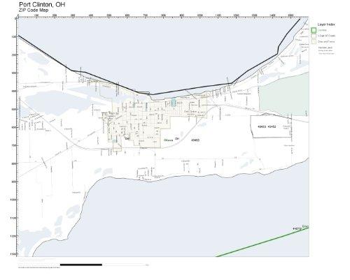 Amazon Com Zip Code Wall Map Of Port Clinton Oh Zip Code Map