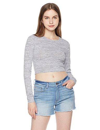 Something For Everyone Women's Marled Fitted Cropped Top XL Gray Marled