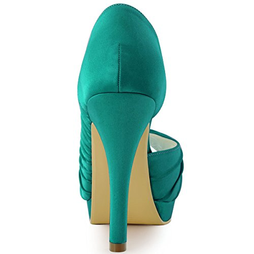 Elegantpark - Zapatos de Vestir de satén Mujer Teal