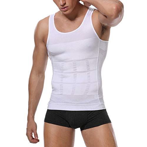 - KIWI RATA Mens Seamless Compression Shirt Ultra Slimming Body Shaper Elastic Sculpting Vest Lose Weight White-Vest M