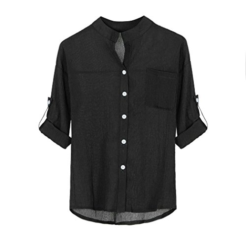 Gi T shirt Casuale Top Collare Donna Stand Bottone ladies Yumm Camicia Tops fpqP0xw