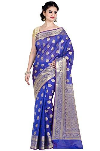 Purple Cotton Silk Blend Banarasi Saree,Free Size(8881) ()