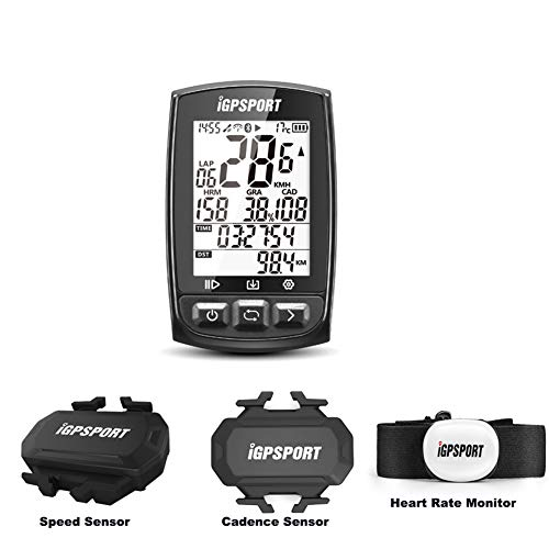 Wireless Bike Computer, iGPSPORT GPS Cycling Computer with Chest Heart Rate Monitor Belt + Speed Sensor + Cadence Sensor with ANT+ Bluetooth Function